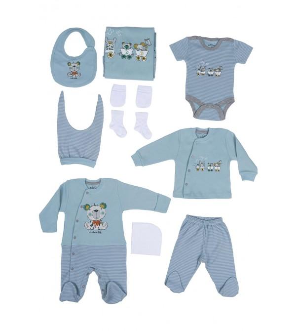Aziz Bebe Erkek Çocuk Hastane Çıkışı Seti 10'lu 010226
