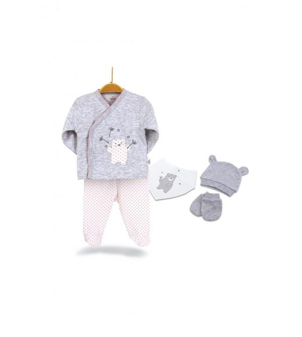 Bibaby 62201 Bimini Pretty Teddy Kız Bebek 5li Hastane Çıkış Seti