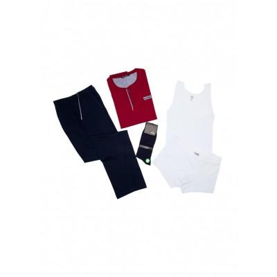 Eros ESE900 Erkek Pijama Seti Özel Koleksiyon (Atlet-Boxer-Çorap)
