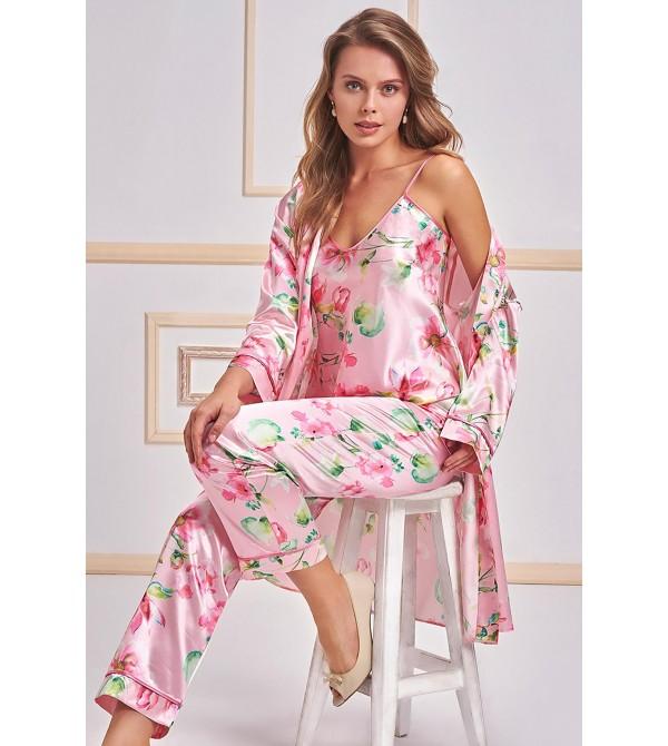 Nurteks 5957 Kadın 3'Lü Saten Pijama Takımı