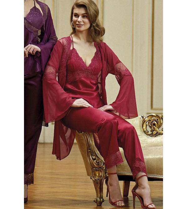 Nurteks 5958 3'lü Saten Pijama Takımı