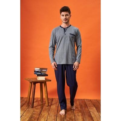 PJS 21717 Erkek Jakarlı Patlı Pijama Takım