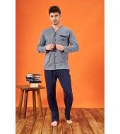 PJS 21718 Erkek Jakarlı Düğmeli Pijama Takımı
