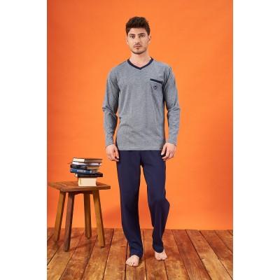 PJS 21719 Erkek Jakarlı V Yaka Pijama Takımı