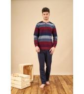 PJS 21730 Erkek Patlı Üç İplik Selanik Kumaş Pijama Takımı