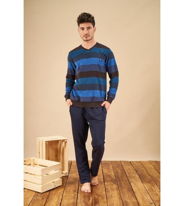 PJS 21731 Erkek V Yaka Patlı Üç İplik Selanik Kumaş Pijama Takımı