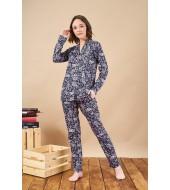 PJS 21804 Kadın Yakalı Düğmeli Desenli Cepli Pijama Takım