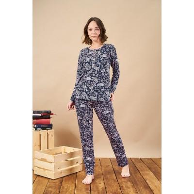 PJS 21805 Kadın Patlı Desenli Cepli Pijama Takım