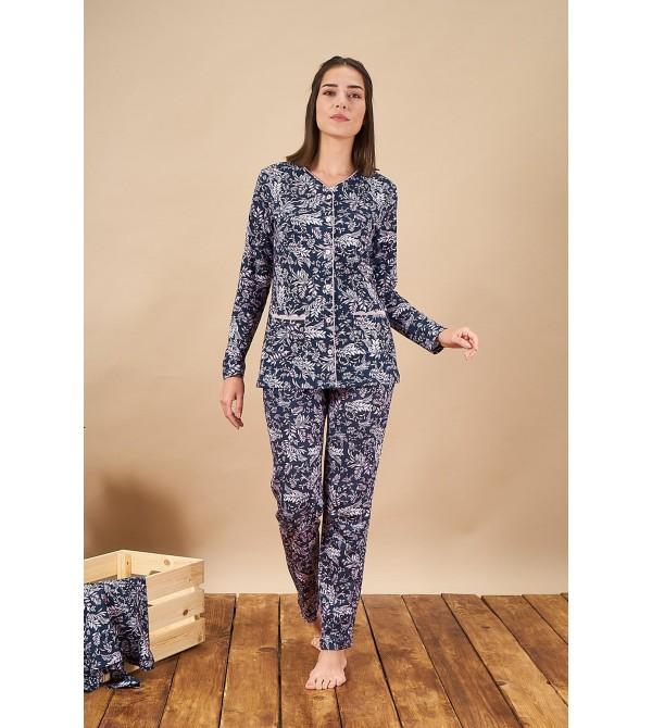 PJS 21807 Kadın Düğmeli Desenli Pijama Takım