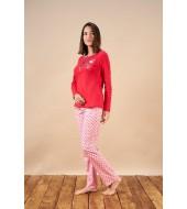 PJS 21808 Kadın Patlı Puantiyeli Cepli Pijama Takım