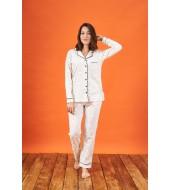 PJS 21810 Kadın Düğmeli Desenli Yakalı Pijama Takım