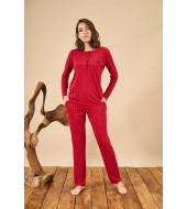 PJS 21813 Kadın Patlı Çizgili Yuvarlak Yaka Pijama Takım
