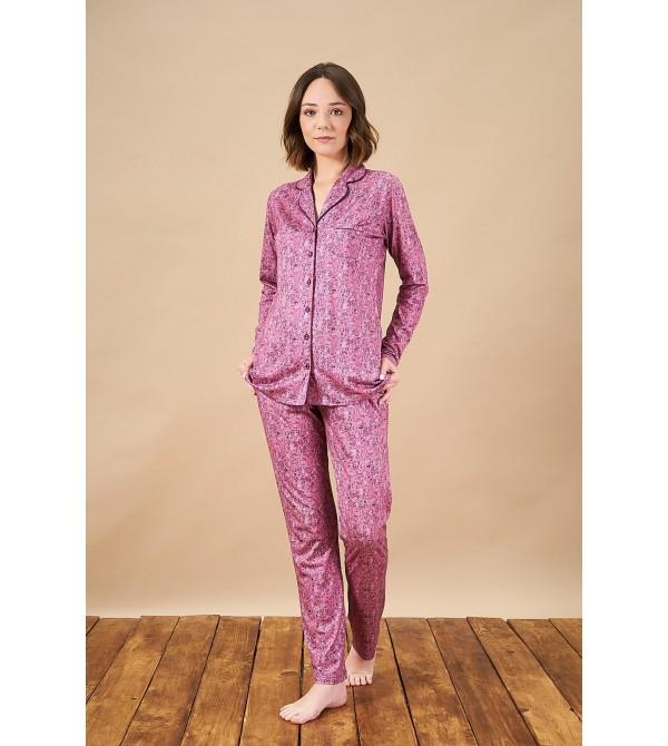 PJS 21822 Kadın Düğmeli Yakalı Desenli Pijama Takım