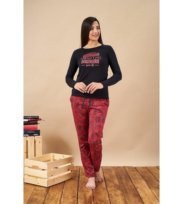 PJS 21827 Kadın Desenli Yuvarlak Yaka Pijama Takım