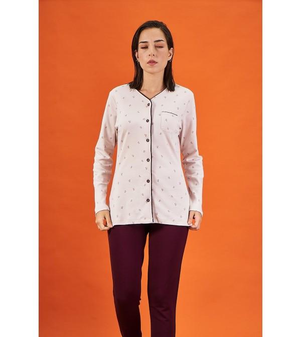 PJS 21833 Kadın Düğmeli Desenli V Yaka Pijama Takım