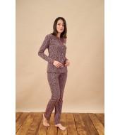PJS 21836 Kadın Desenli Düğmeli Pijama Takım