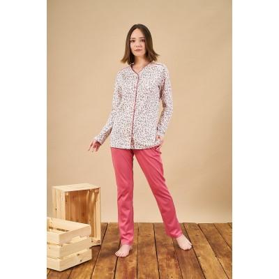 PJS 21838 Kadın Düğmeli Desenli Pijama Takım