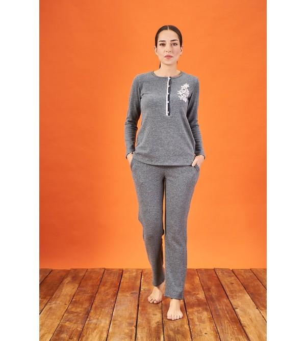 PJS 21849 Kadın Patlı Nakışlı Yumoş Pijama Takım