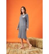 PJS 21850 Kadın Patlı Nakışlı Uzun Kollu Gecelik