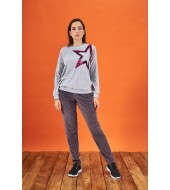 PJS 21854 Kadın Pullu Desenli Kadife Eşofman Takım
