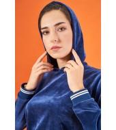 PJS 21855 Kadın Kapüşonlu Kadife Eşofman Takım
