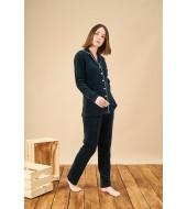 PJS 21857 Kadın Düğmeli Yakalı Kadife Pijama Takım