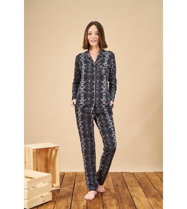 PJS 21874 Kadın Yakalı Desenli Düğmeli Pijama Takım