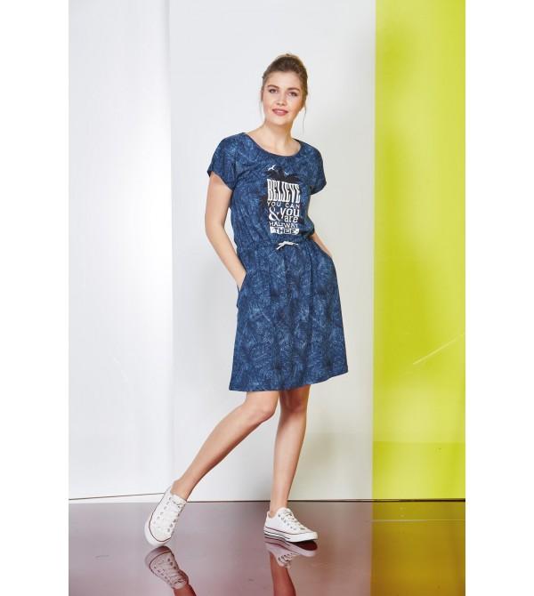PJS Baskılı Desenli Bayan Elbise 20680