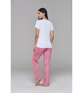 PJS Baskılı Empirme Desenli Bayan Pijama 2 Li Takım 20668