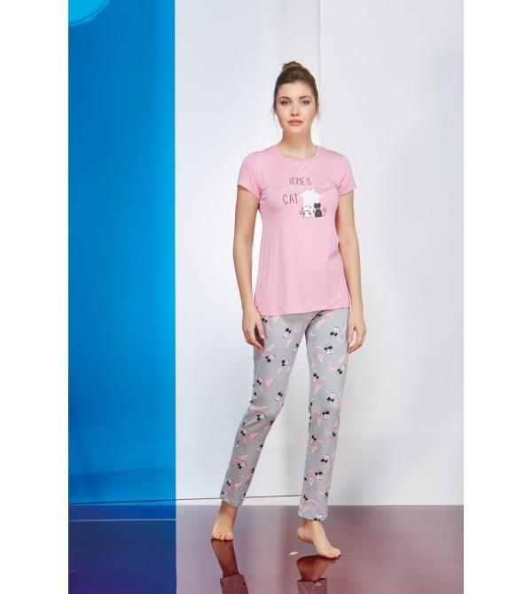 PJS Baskılı Empirme Desenli Bayan Pijama 2 Li Takım 20658