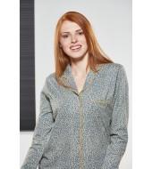 PJS Kadın Düğmeli Pijama Takımı Pjs21141