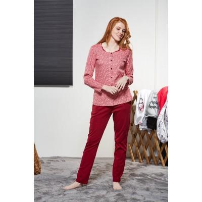 PJS Kadın Düğmeli Pijama Takımı Pjs21152