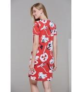 PJS 21480 Kadın Kısa Kollu Cep Detaylı Elbise