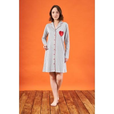 PJS 21801 Kadın Çizgili Düğmeli Biyeli Kalp Nakışlı Gecelik