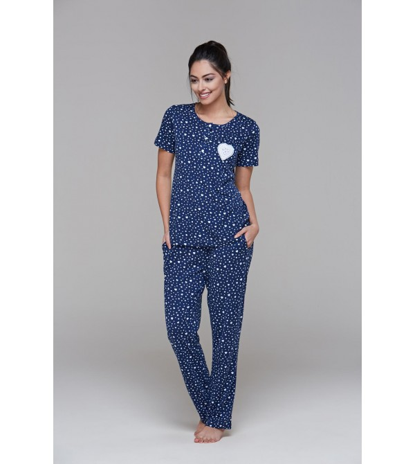 PJS 21495 Kadın Kısa Kollu Patlı Pijama Takım