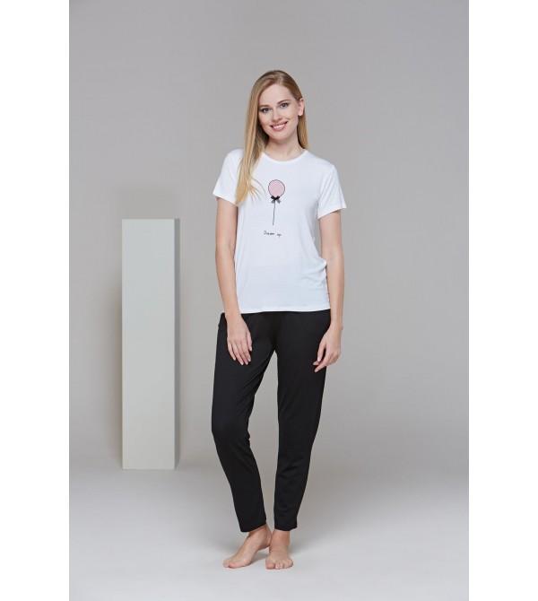 PJS 21520 Kadın Kısa Kollu Dream Up Pijama Takım