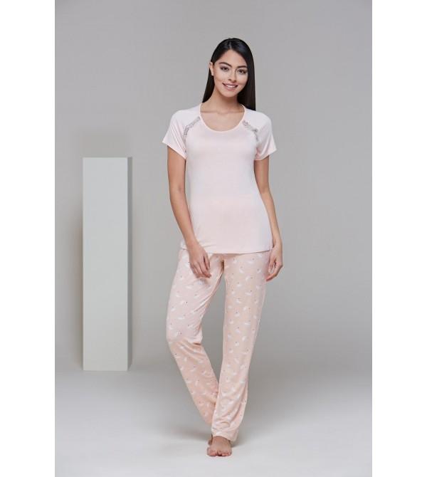 PJS 21525 Kadın Kısa Kollu Dantel Detaylı Pijama Takım