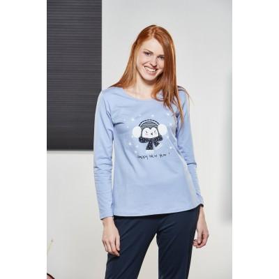 PJS Kadın Yuvarlak Yaka Pijama Takımı Pjs21120