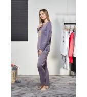 PJS Kadın Yuvarlak Yaka Pijama Takımı Pjs21122