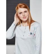 PJS Kadın Düğmeli Pijama Takımı Pjs21126