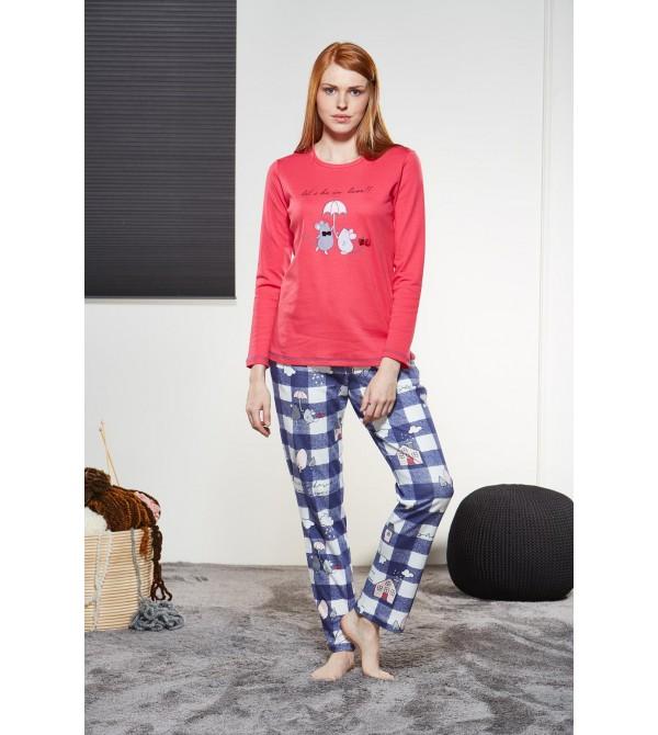 PJS Kadın Yuvarlak Yaka Pijama Takımı Pjs21127