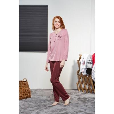 PJS Kadın Düğmeli Pijama Takımı Pjs21135