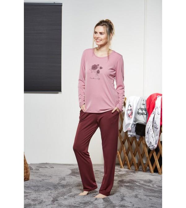 PJS Kadın Yuvarlak Yaka Pijama Takımı Pjs21136