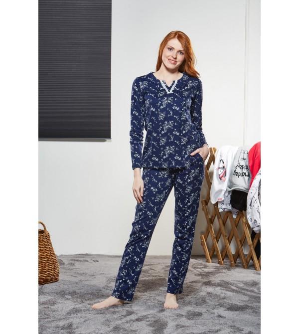 PJS Kadın Yuvarlak Yaka Pijama Takımı Pjs21138