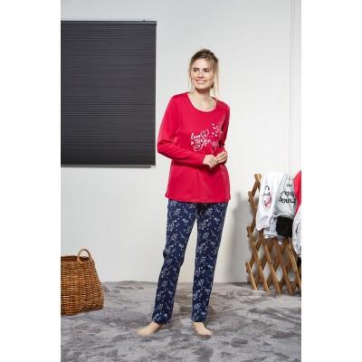 PJS Kadın Yuvarlak Yaka Pijama Takımı Pjs21140