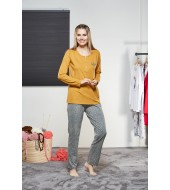 PJS Kadın Düğmeli Pijama Takımı Pjs21142