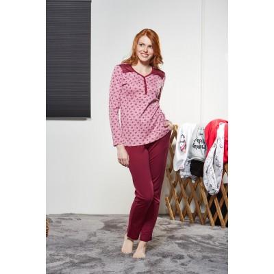 PJS Kadın Düğmeli Pijama Takımı Pjs21156
