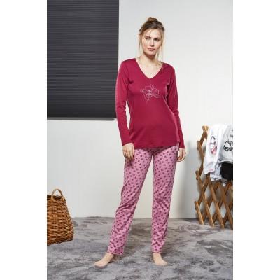 PJS Kadın V Yaka Pijama Takımı Pjs21159