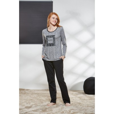 PJS Kadın Yuvarlak Yaka Pijama Takımı Pjs21164