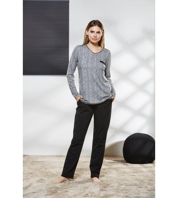 PJS Kadın V Yaka Pijama Takımı Pjs21165